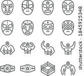 wrestling icon illustration... | Shutterstock .eps vector #1845925348