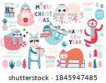 christmas sloths set  hand...   Shutterstock .eps vector #1845947485
