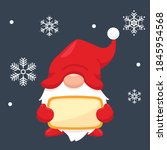 a cute christmas gnome holding... | Shutterstock .eps vector #1845954568