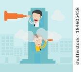 businessman with binoculars... | Shutterstock .eps vector #184605458