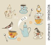 Teatime. Birds, teacups and teapots