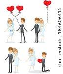 set of cartoon wedding pictures  | Shutterstock .eps vector #184606415
