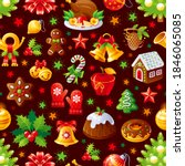 christmas food. seamless vector ... | Shutterstock .eps vector #1846065085