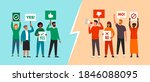 two groups of activists...   Shutterstock .eps vector #1846088095