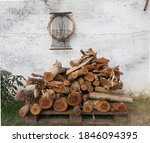 Logs Of Firewood Cut And...