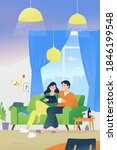 loving couple sitting at home... | Shutterstock .eps vector #1846199548