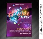 vector music flyer brochure... | Shutterstock .eps vector #184623926