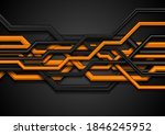 orange and black 3d circuit... | Shutterstock .eps vector #1846245952