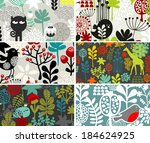 six cards with floral patterns. ... | Shutterstock .eps vector #184624925