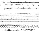 silhouette of the barbed wire... | Shutterstock .eps vector #184626812