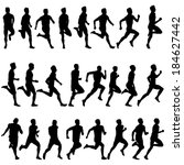 set of silhouettes. runners on... | Shutterstock .eps vector #184627442
