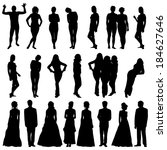 black silhouettes of beautiful... | Shutterstock .eps vector #184627646