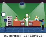 a cooking tv show with a chef ... | Shutterstock .eps vector #1846284928