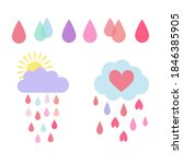 cute vector clouds and drops....   Shutterstock .eps vector #1846385905