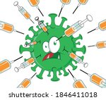 syringe with vaccine attacks...   Shutterstock .eps vector #1846411018