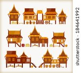 villages in thailand   Shutterstock .eps vector #184641992