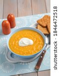 pumpkin soup with crackers and...   Shutterstock . vector #1846472518