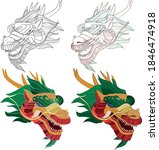 chinese dragon head set with... | Shutterstock .eps vector #1846474918