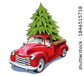 Christmas Card. Red Retro Truck ...
