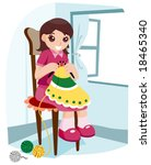 girl knitting   vector | Shutterstock .eps vector #18465340