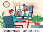 video conference. men at... | Shutterstock . vector #1846550548