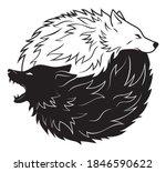 Illustration Of Yin Yang Wolf....