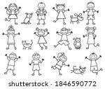 set of doodle kids figures with ...   Shutterstock .eps vector #1846590772