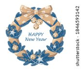christmas wreath made of blue... | Shutterstock .eps vector #1846593142