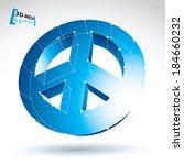 3d mesh blue peace icon... | Shutterstock .eps vector #184660232