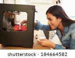 female architect using 3d...   Shutterstock . vector #184664582