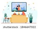 back view of family sitting on... | Shutterstock .eps vector #1846647022