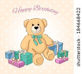 cute teddy bear with gifts.... | Shutterstock .eps vector #184668422