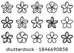 plumeria icons set. outline set ...