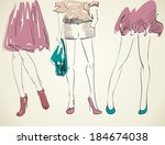 three girls in fashionable... | Shutterstock .eps vector #184674038