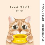 feed time slogan with cute cat... | Shutterstock .eps vector #1846777372