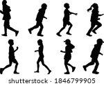 children silhouettes running. ... | Shutterstock .eps vector #1846799905
