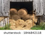 Many Hay Bales Being Stored In...