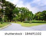 green nature on public park... | Shutterstock . vector #184691102