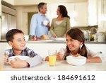 hispanic family eating... | Shutterstock . vector #184691612