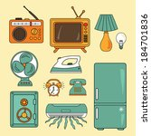 vector set with technology... | Shutterstock .eps vector #184701836
