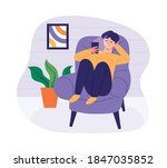 man sitting on sofa and playing ... | Shutterstock .eps vector #1847035852
