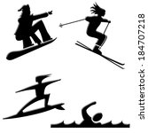 snow and water sports icons | Shutterstock . vector #184707218