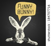 easter hand drawn funny bunny...   Shutterstock .eps vector #184707716