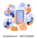 mobile phone user sharing news...   Shutterstock .eps vector #1847162845