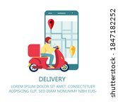 scooter with delivery man flat... | Shutterstock .eps vector #1847182252