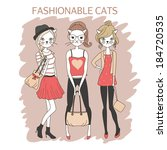 cute fashion girls cats colored ... | Shutterstock . vector #184720535