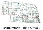 nebraska road and highway map.... | Shutterstock .eps vector #1847234908