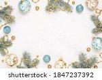 Christmas frame on white...