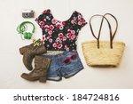 overhead of essentials spring... | Shutterstock . vector #184724816