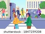 crosswalk road  people wait for ... | Shutterstock .eps vector #1847259208
